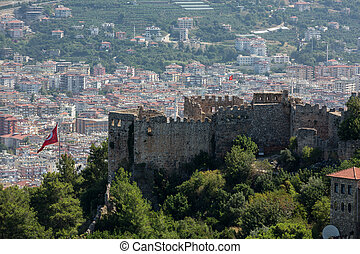 Alanya - the panoramic view of the city from the castle hill