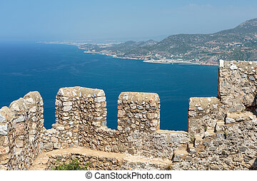 Alanya - Castle of Alanya built on rocks and beach of...