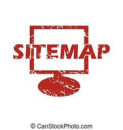 Red grunge sitemap logo on a white background Vector...