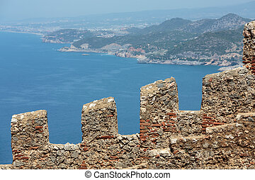 Alanya  - Ruins of Ottoman fortress in Alanya . Turkey.