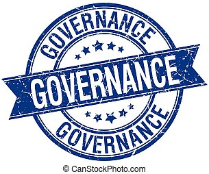 governance grunge retro blue isolated ribbon stamp
