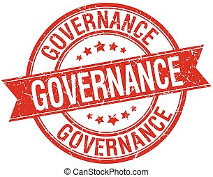 governance grunge retro red isolated ribbon stamp