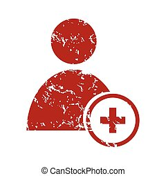 Red grunge add user logo on a white background. Vector...
