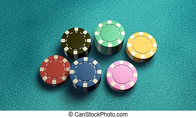 casino chips of 6 color blue table