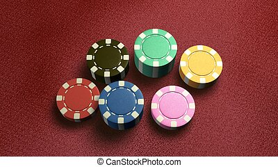 casino chips of 6 color red table