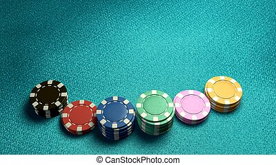 casino chips of bet blue table