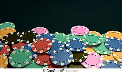 casino chips show hand dark background - The 3d rendering of...