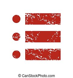 Red grunge ordinal list logo on a white background Vector...