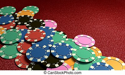 many of casino chips red table