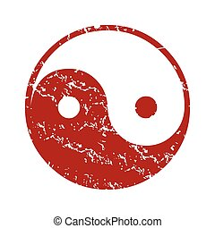 Red grunge Taoism logo on a white background Vector...