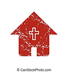 Red grunge church logo