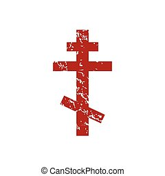 Red grunge orthodoxy logo on a white background Vector...
