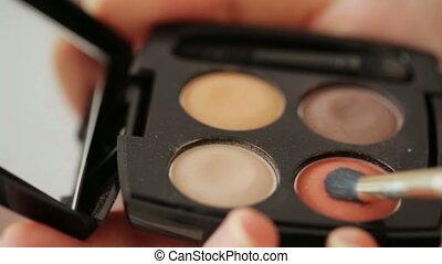 Eye make-up closeup - eyeshadow, pencil and mascara