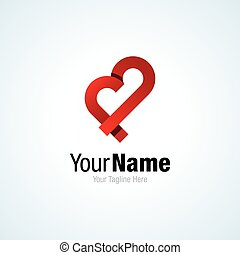 Funny red heart shape ribbon graphic design logo icon
