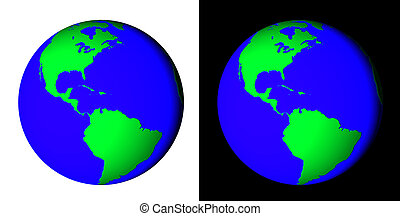 Earth - Rendered 3d model of Earth on white and black...