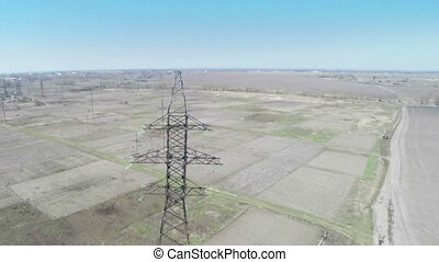Flying over power line - Aerial survey - flying over power...