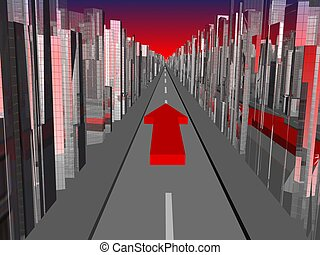 Way forward - City landscape with road and red arrow forward
