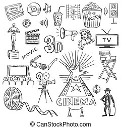 Hand drawn cinema, excellent vector illustration, EPS 10