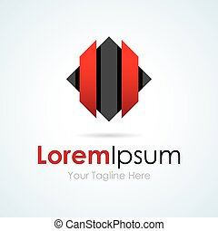 Technology black and red simple business icon logo
