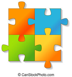 Jigsaw Puzzle on a white background