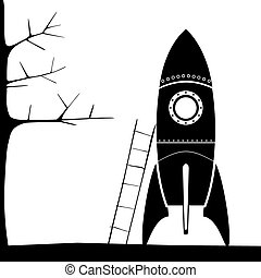silhouette of a rocket with a ladder and tree, black launch...