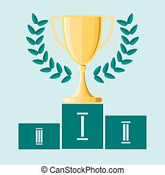 Gold metal trophy cup or award for the winner of a championship,