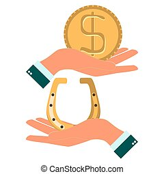 Hands holding a horseshoe and dollar coin to pick up an object i
