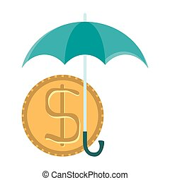 Vector dollar coin under umbrella