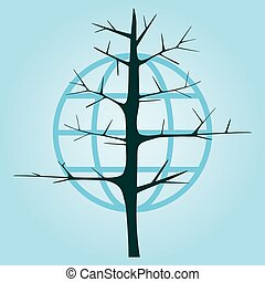 tree without leaves on a background of the globe. Stylized tree