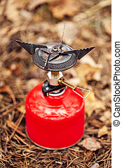 gas burner with a red balloon - gas stove with a red balloon...
