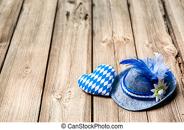 Background with Bavarian hat and heart, Oktoberfest