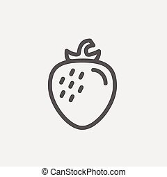 Strawberry thin line icon - Strwaberry icon thin line for...