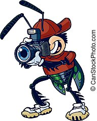 Cartoon Shutter Bug with Camera - Cartoon vector clip art...