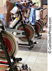 Girar, bicicleta, condición física