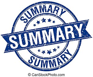 summary grunge retro blue isolated ribbon stamp