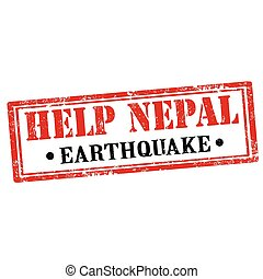 Help Nepal-stamp - Grunge rubber stamp with text Help...
