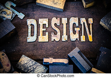 Design Concept Wood and Rusted Metal Letters - The word...