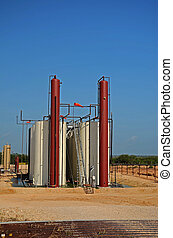 Crude Oil Tanks - Crude oil collect and separation tanks on...