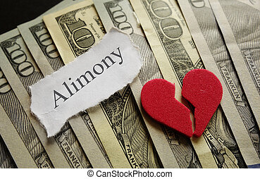 Heart and Alimony - Broken red heart and Amimony paper note...