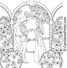 Coloring book: medieval couple holding hands