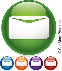 Newsletter, mail, email icon or button. White envelope...