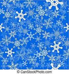 Snowflakes seamless background - Winter snowflakes over blue...
