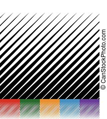 Abstract background, lines pattern. Set of 6 monochrome versions. Red, green, orange, blue and purple vector backgrounds with pointed, spiky geometry.
