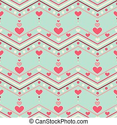 Chevron With Heart Pattern