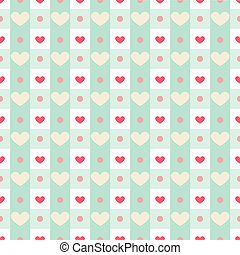 Retro heart with gingham pattern