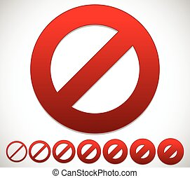 Red prohibition, restriction - No entry sign. Vector...