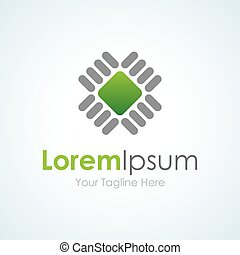 Green chip production technology business element icon logo