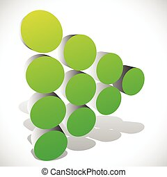 Dotted 3d arrow - arrowhead in green Generic icon, play...