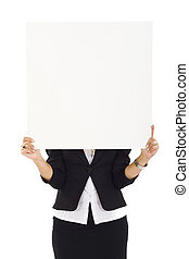 Businesswoman Holding a Blank White Sign over white...