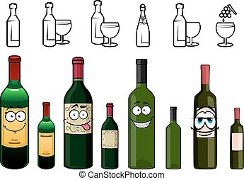 Cartoon characters of wine bottles in various design - Happy...